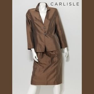 CARLISLE Brown Silk Two Piece Dress